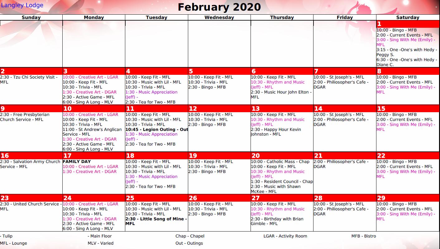 February Recreation