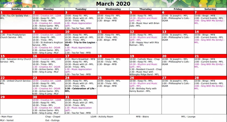 March Recreational Calendar